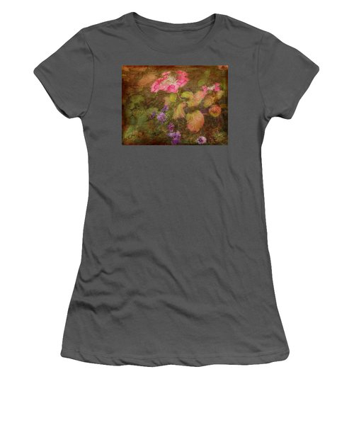 Pink Hydrangea And Purple Pansies Women's T-Shirt (Athletic Fit)