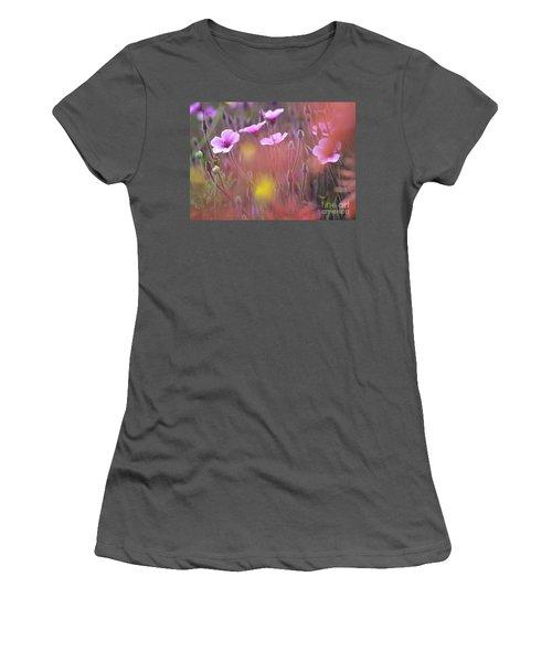 Pink Wild Geranium Women's T-Shirt (Junior Cut) by Heiko Koehrer-Wagner
