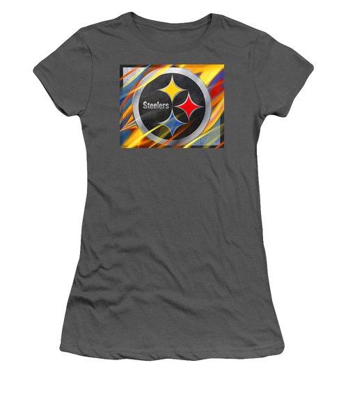 Pittsburgh Steelers Football Women's T-Shirt (Junior Cut) by Tony Rubino