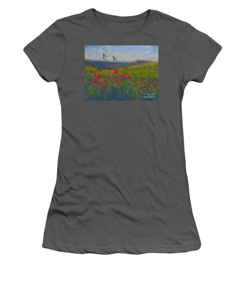 Women's T-Shirt (Junior Cut) featuring the digital art Poppies Of Tuscany by Lianne Schneider