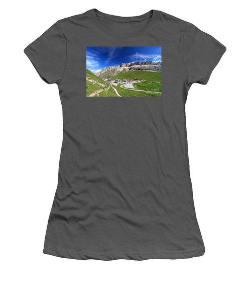 Pordoi Pass And Mountain Women's T-Shirt (Athletic Fit)