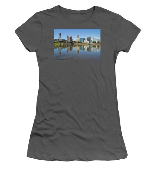 Women's T-Shirt (Junior Cut) featuring the photograph Portland Downtown Skyline And Hawthorne Bridge by JPLDesigns