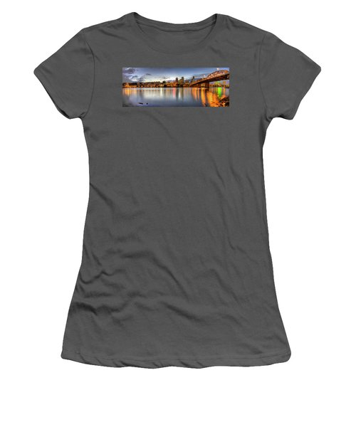 Portland Downtown Skyline Night Panorama 2 Women's T-Shirt (Athletic Fit)