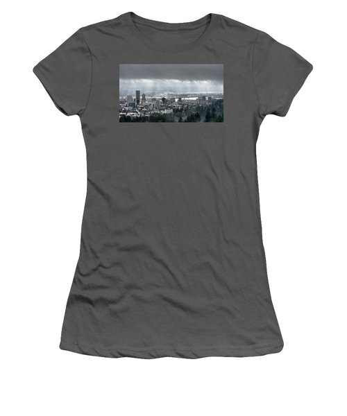 Portland Oregon After A Morning Rain Women's T-Shirt (Athletic Fit)