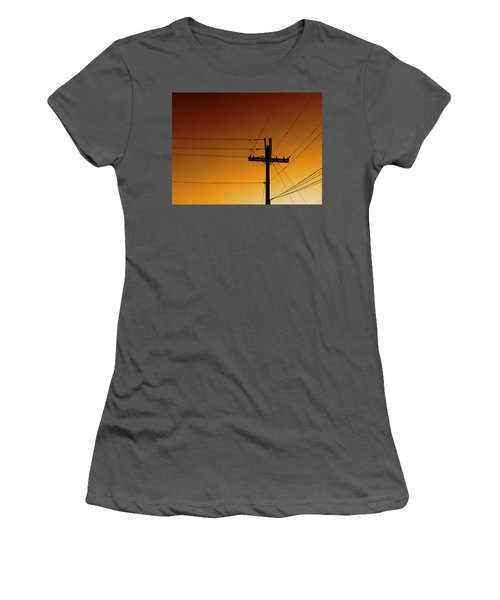 Power Line Sunset Women's T-Shirt (Athletic Fit)