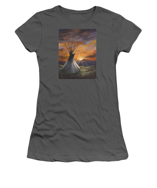 Prairie Sunset Women's T-Shirt (Junior Cut) by Kim Lockman