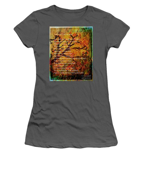 Prayer Of St. Francis Of Assisi  And Cherry Blossoms Women's T-Shirt (Athletic Fit)