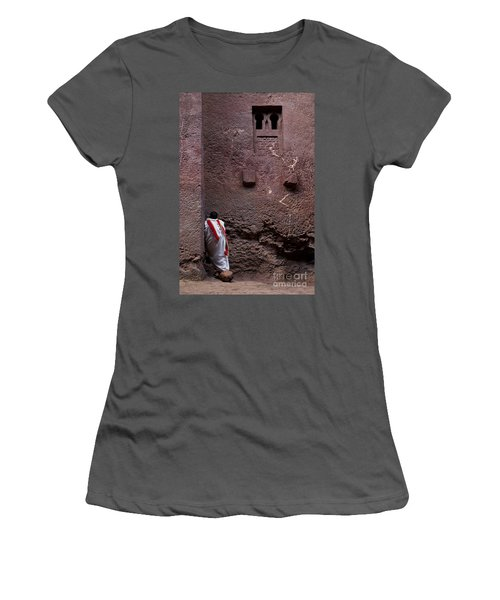 Priest Praying Outside Church In Lalibela Ethiopia Women's T-Shirt (Athletic Fit)