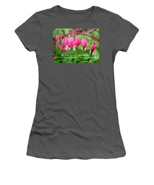 Psalms 27 14 Bleeding Hearts Women's T-Shirt (Athletic Fit)