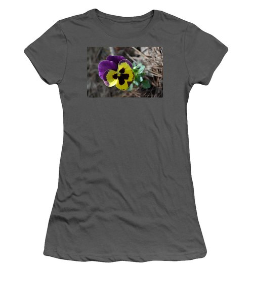 Women's T-Shirt (Junior Cut) featuring the photograph Purple And Yellow Pansy by Tara Potts