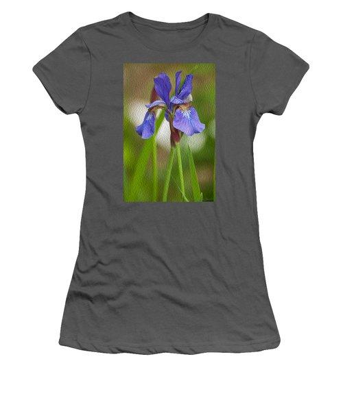 Purple Bearded Iris Oil Women's T-Shirt (Athletic Fit)