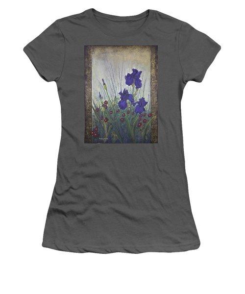 Women's T-Shirt (Junior Cut) featuring the painting Purple Iris by Rob Corsetti