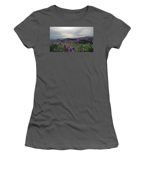 Women's T-Shirt (Junior Cut) featuring the digital art Purple Spring In The Big Horns by Cathy Anderson