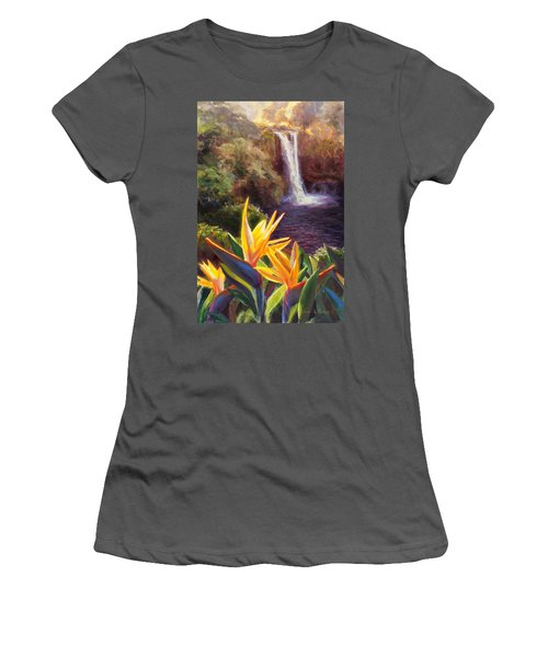 Rainbow Falls Big Island Hawaii Waterfall  Women's T-Shirt (Athletic Fit)