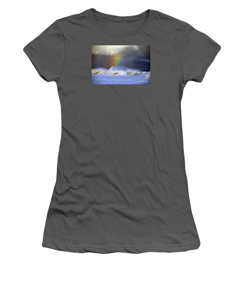 Rainbow On The Banzai Pipeline At The North Shore Of Oahu Women's T-Shirt (Athletic Fit)