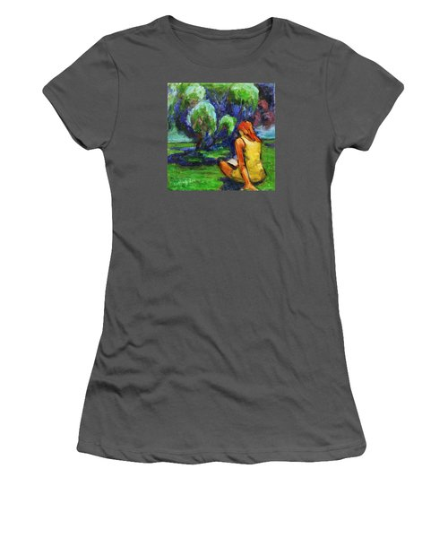 Women's T-Shirt (Athletic Fit) featuring the painting Reading In A Park by Xueling Zou