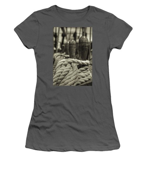Ready For Work Black And White Sepia Women's T-Shirt (Athletic Fit)