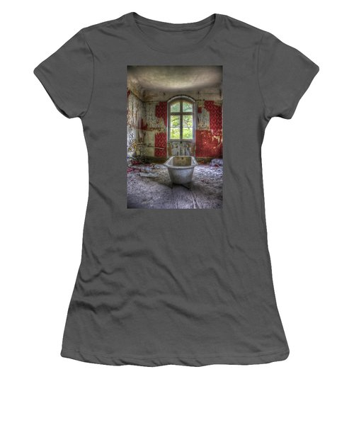 Red Bathroom Women's T-Shirt (Athletic Fit)