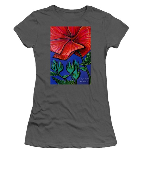 Red Ibiscus - Botanical Women's T-Shirt (Athletic Fit)