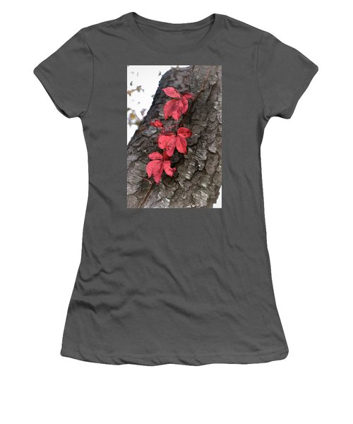 Red Leaves On Bark Women's T-Shirt (Athletic Fit)