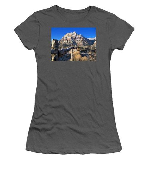 Women's T-Shirt (Junior Cut) featuring the photograph Red Rock Snow by Alan Socolik