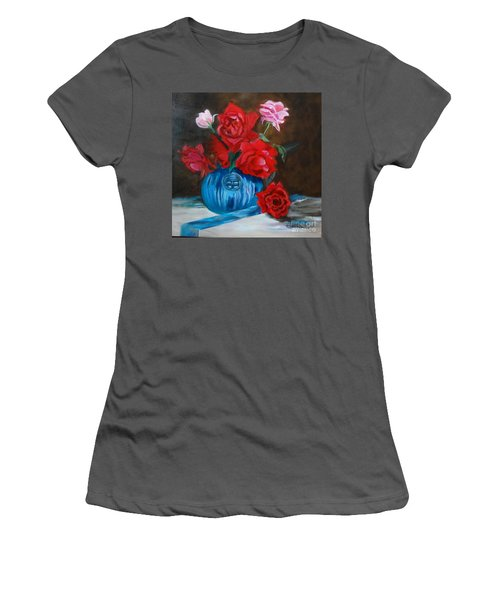 Women's T-Shirt (Junior Cut) featuring the painting Red Roses And Blue Vase by Jenny Lee