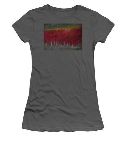 Red Trees Watercolor Women's T-Shirt (Junior Cut) by Dick Bourgault