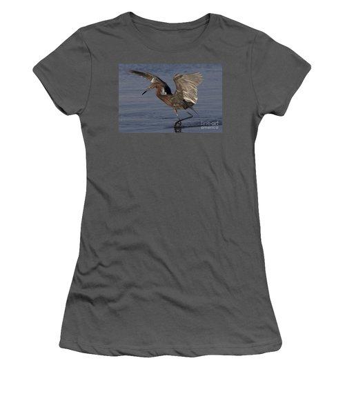 Reddish Egret Fishing Women's T-Shirt (Junior Cut) by Meg Rousher
