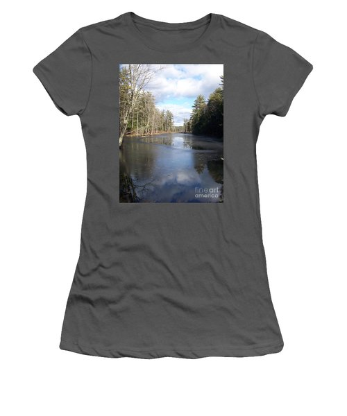 Women's T-Shirt (Junior Cut) featuring the photograph Reflections Caught On Ice At A Pretty Lake In New Hampshire by Eunice Miller