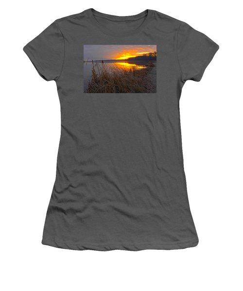 Women's T-Shirt (Junior Cut) featuring the photograph Rising Sunlights Up Shore Line Of Cattails by Randall Branham
