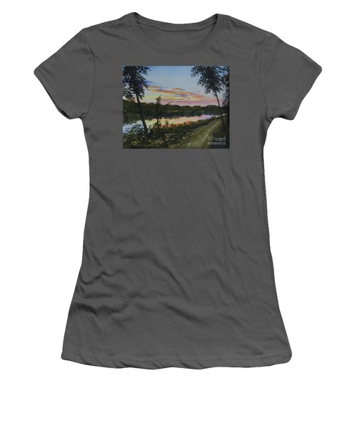 Women's T-Shirt (Junior Cut) featuring the painting River Sunset by Martin Howard
