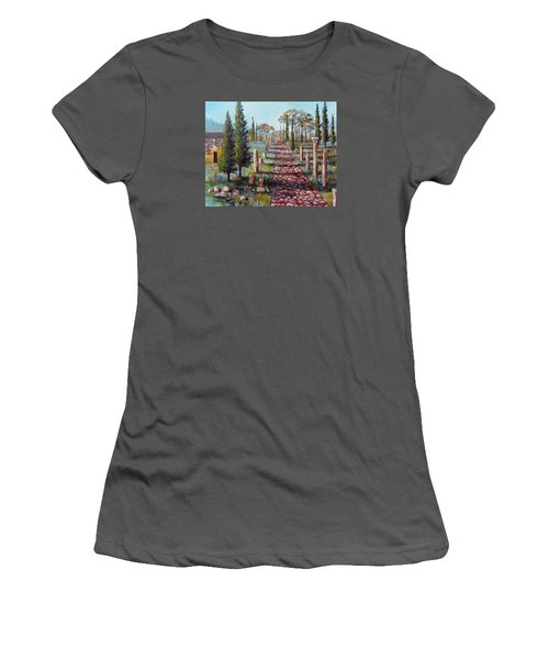 Women's T-Shirt (Junior Cut) featuring the painting Roman Road by Lou Ann Bagnall