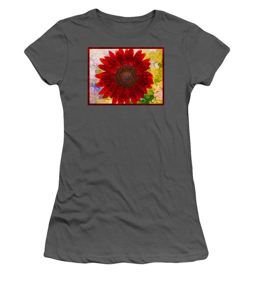 Royal Red Sunflower Women's T-Shirt (Athletic Fit)