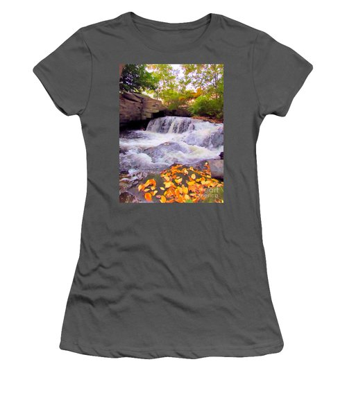 Royal River White Waterfall Women's T-Shirt (Athletic Fit)
