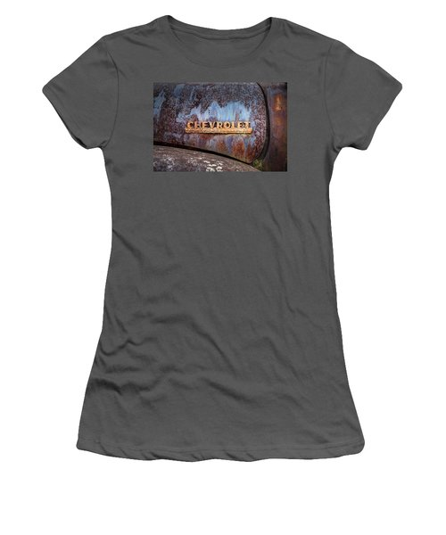 Women's T-Shirt (Junior Cut) featuring the photograph Rusty Chevrolet - Nameplate - Old Chevy Sign by Gary Heller