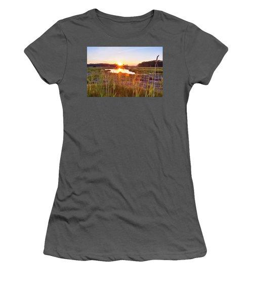 Rye Marsh Sunset Women's T-Shirt (Athletic Fit)