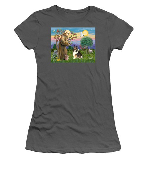 Saint Francis Blesses A Sable And White Collie Women's T-Shirt (Athletic Fit)