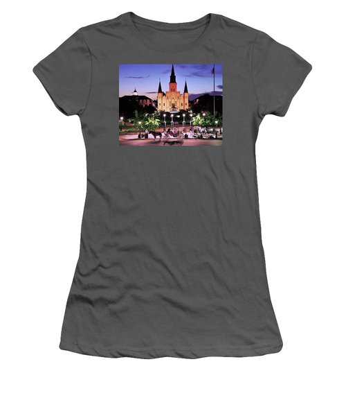 Saint Louis Cathedral New Orleans Women's T-Shirt (Junior Cut) by Allen Beatty