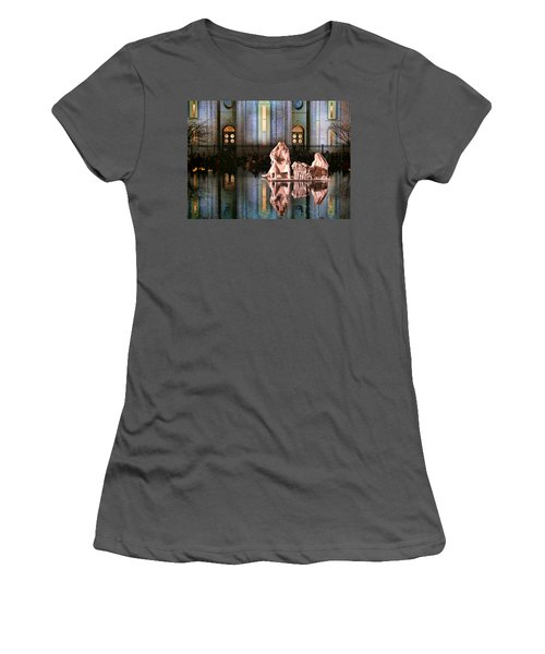 Women's T-Shirt (Junior Cut) featuring the photograph Salt Lake Temple - 2 by Ely Arsha
