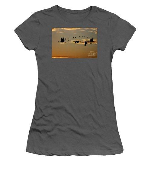 Sandhill Cranes At Sunset Women's T-Shirt (Athletic Fit)