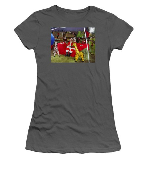 Santa Clausewith The Animals Women's T-Shirt (Athletic Fit)