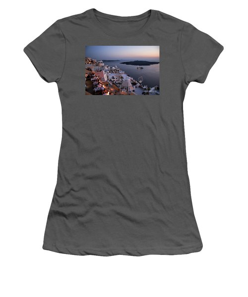 Santorini At Dusk Women's T-Shirt (Athletic Fit)