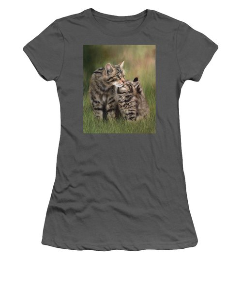Scottish Wildcats Painting - In Support Of The Scottish Wildcat Haven Project Women's T-Shirt (Athletic Fit)