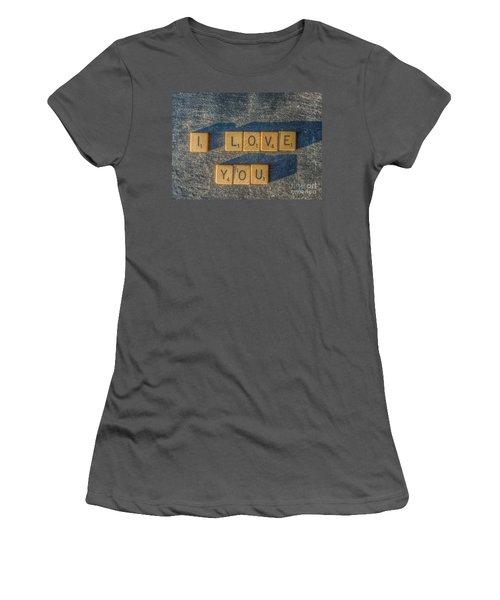 Scrabble I Love You Women's T-Shirt (Junior Cut) by Randy Steele