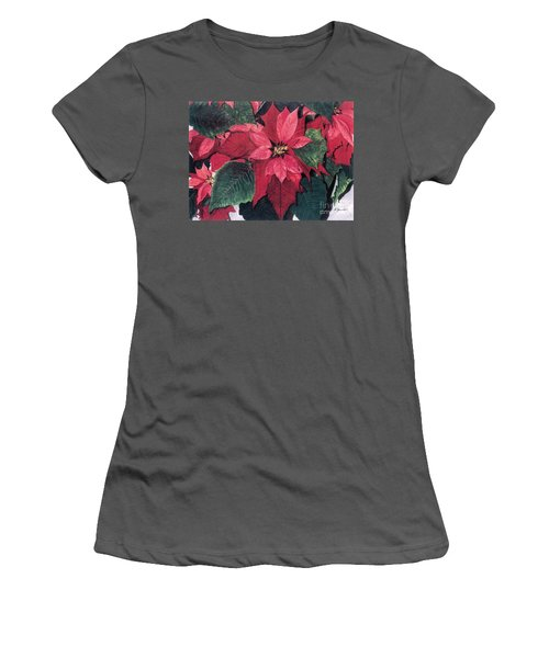 Women's T-Shirt (Junior Cut) featuring the painting Seasonal Scarlet 2 by Barbara Jewell