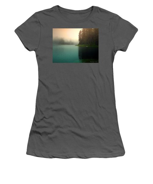 Serenity On Blue Lake Foggy Afternoon Women's T-Shirt (Athletic Fit)
