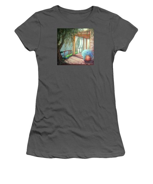 Women's T-Shirt (Junior Cut) featuring the painting Shade Of The Olive Tree by Michael Rock