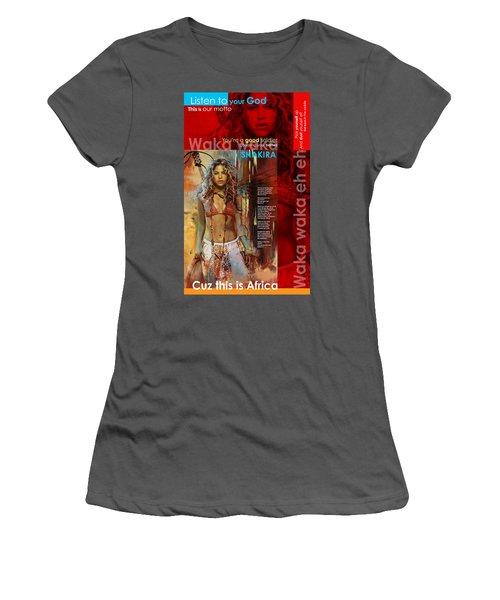 Shakira Art Poster Women's T-Shirt (Junior Cut) by Corporate Art Task Force