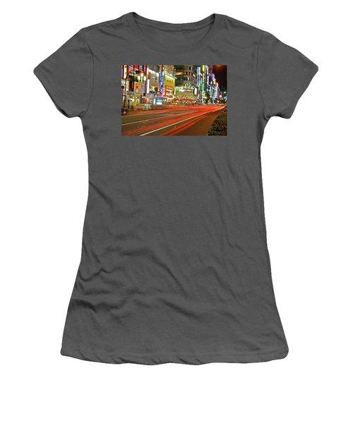 Shinjuku Neon Strikes Women's T-Shirt (Athletic Fit)