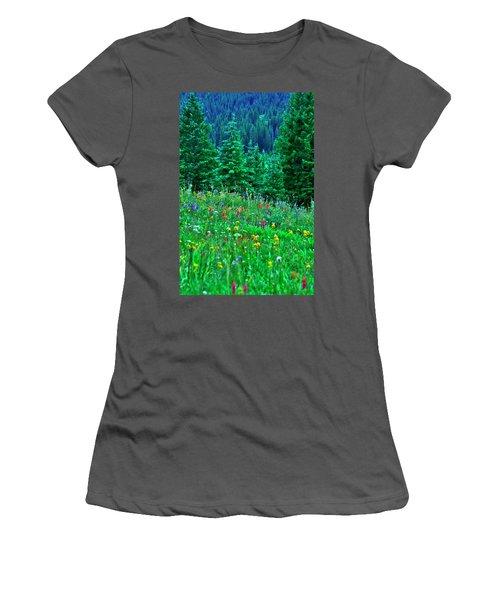 Shrine Pass Wildflowers Women's T-Shirt (Athletic Fit)